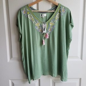 NWT Floreat Embroidered Persephone Top Size Small
